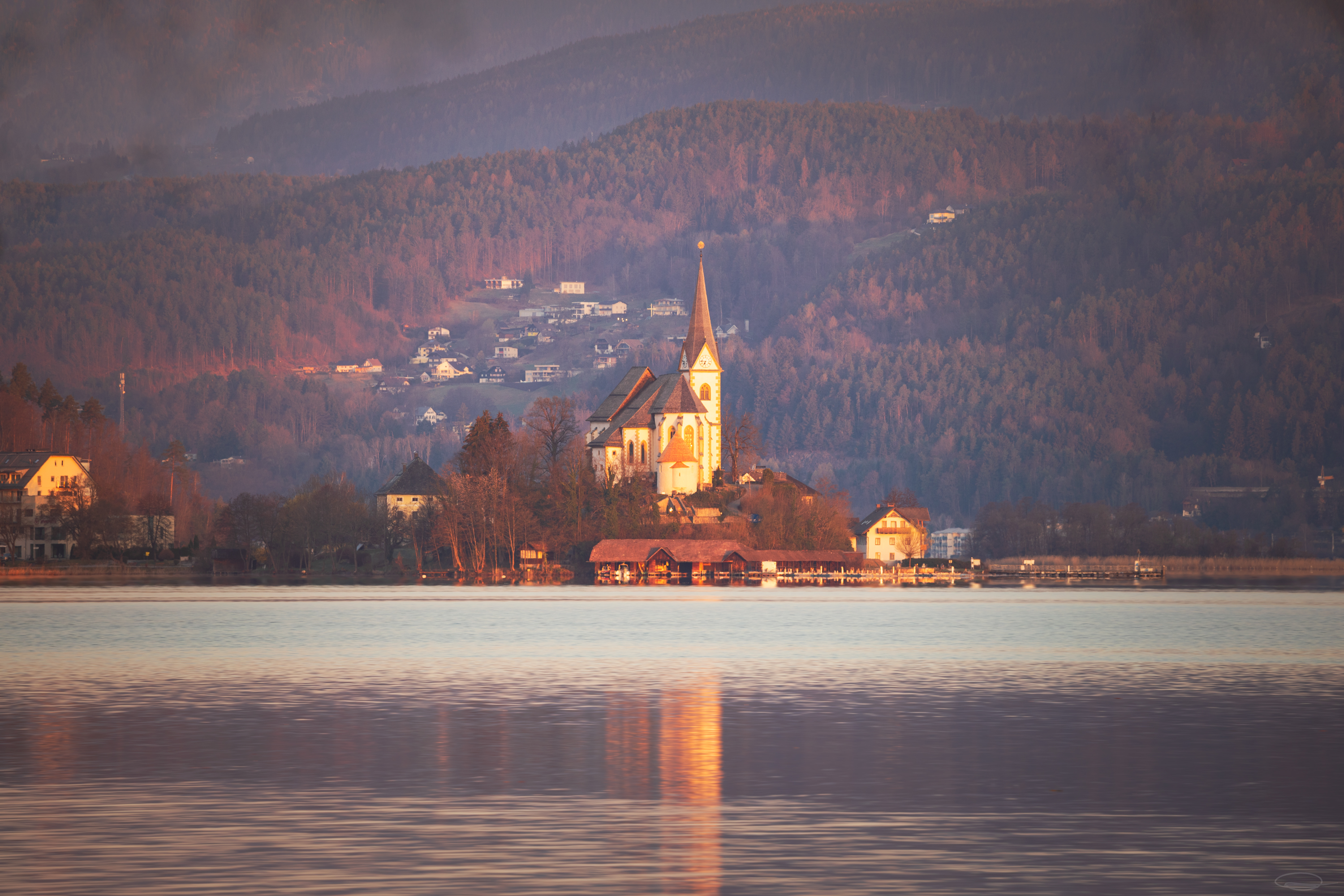 Peninsula and Church Maria Wörth at the Wörthersee