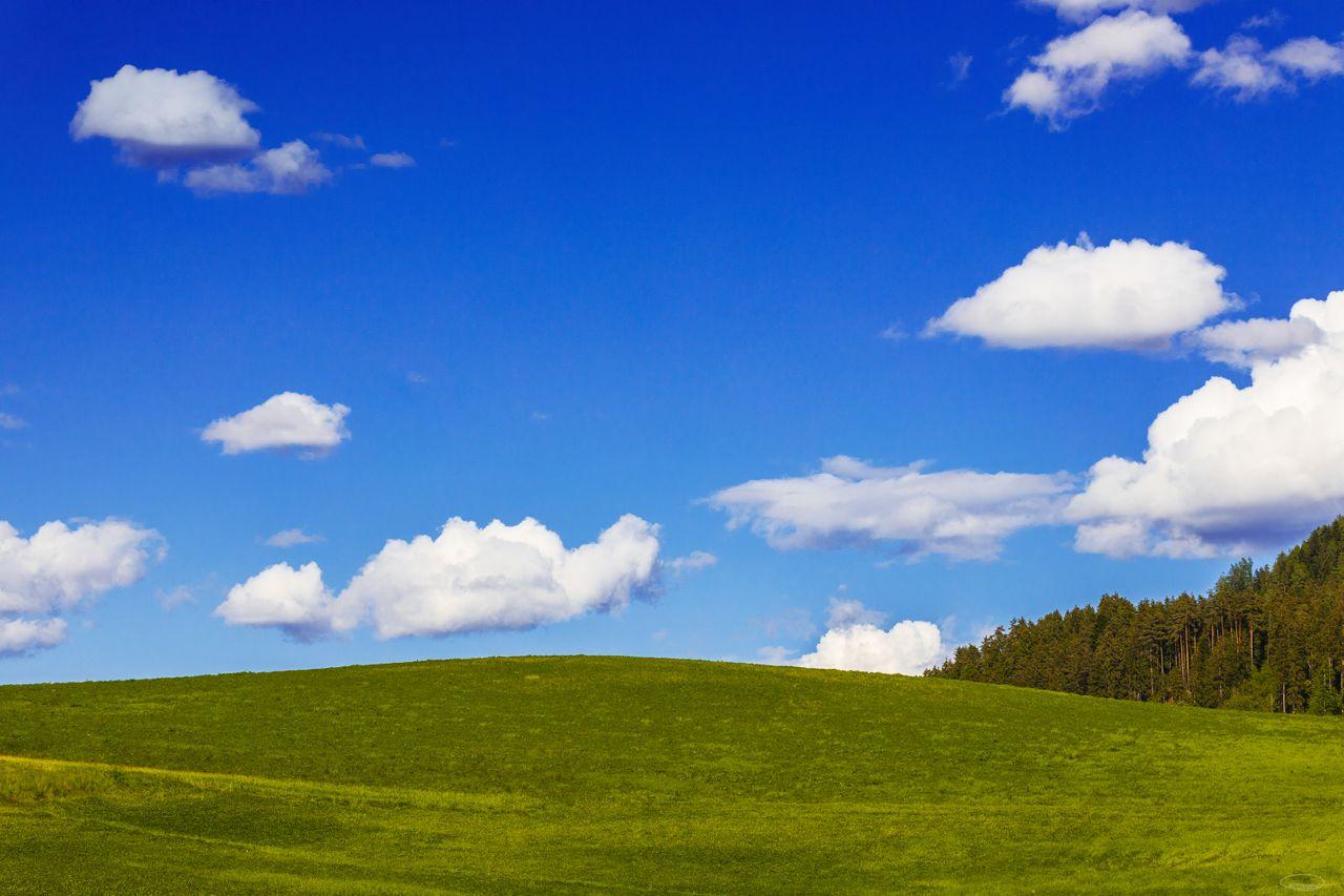 Blue skies and green hills - Windows XP feeling