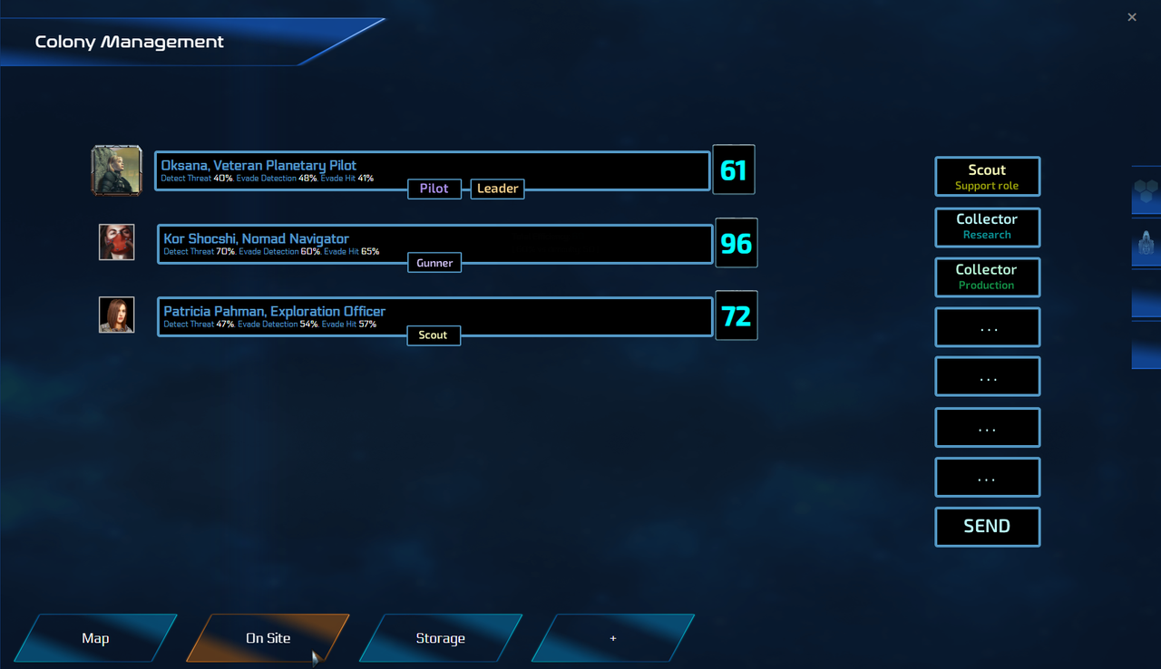 This screen is only a draft! but it allows to drag and drop team roles on crew members!