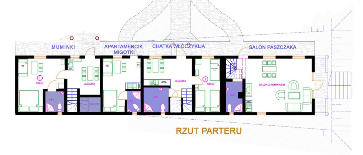 schemat pomieszczeń w Chatce Włóczykija