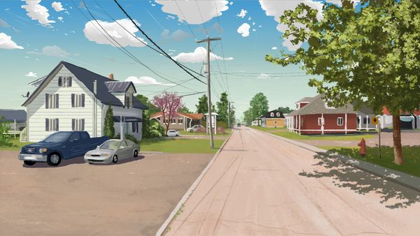 Digital painting of a pretty place in Québec.