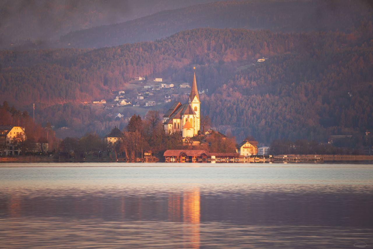 Peninsula and Church Maria Wörth at the Wörthersee