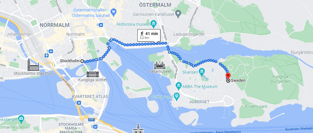 It is a very good walk to Djurgården from Stockholm city station. But also, you can take a bus there. It cost 38SEK 😉