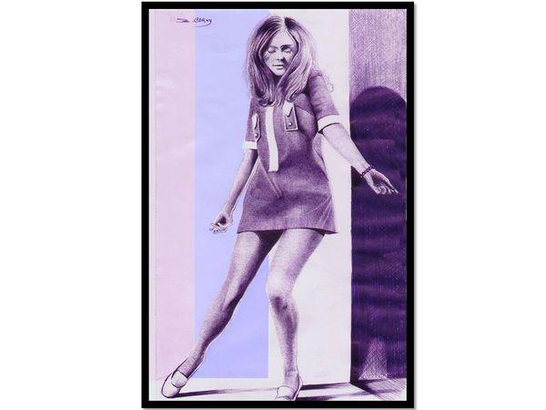 "Drawing ""Woman dancing in the 1960s"" in purple pen"