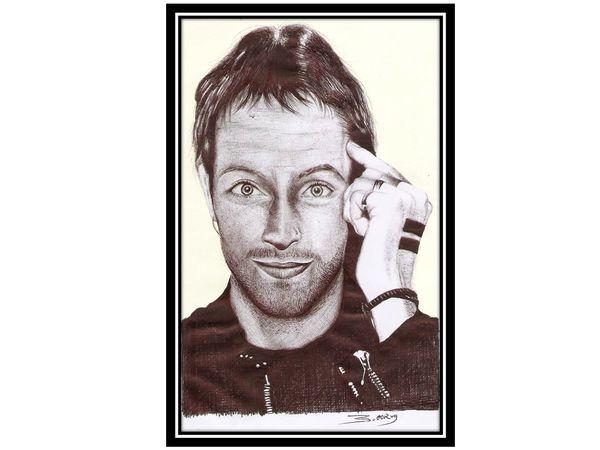"Coldplay - Mr. ""Chris Martin"",  Drawing in black pen (esp - eng)"