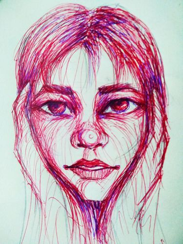 Portrait drawing with wavy lines