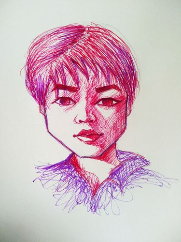 Portrait drawing with ball point pen