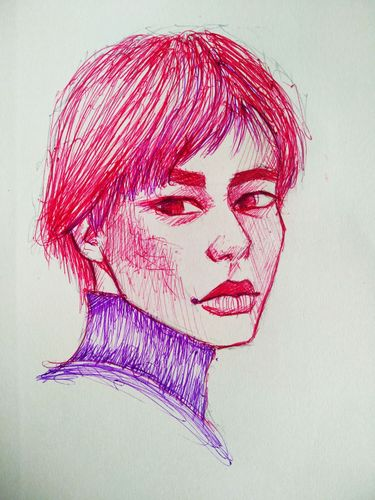 My New Portrait drawing with red ball point pen