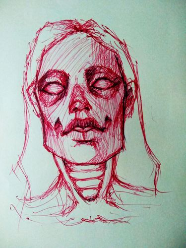 Red ball point pen drawing, from a clay sculpture