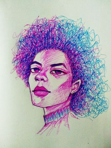 Portrait drawing with pink and blue ball point pen, i just ran out of pink color