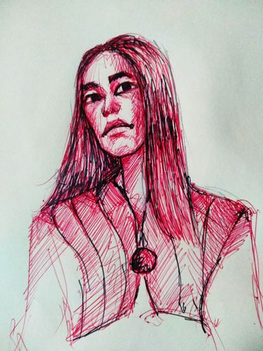 Half portrait with red ball point pen