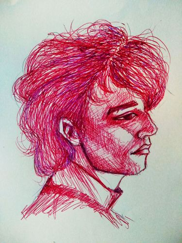 Male portrait drawing with red and blue ball point pen