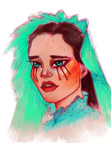 Digital color on ball point pen drawing, my new favorite