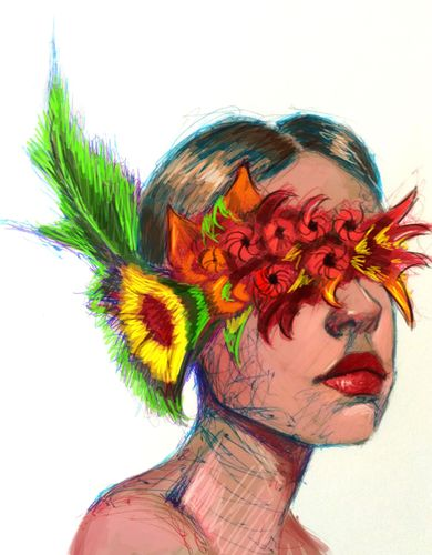 Digital color on ball point pen drawing, wrapped in flower