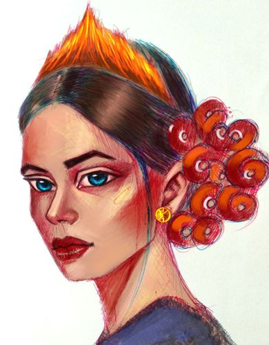 Digital color on ball point pen drawing -- Crown