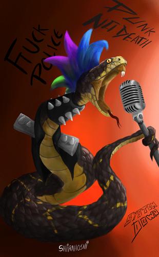 [Eng-Esp] Digital Art: Punk Snake -- Arte digital: Serpiente Punk