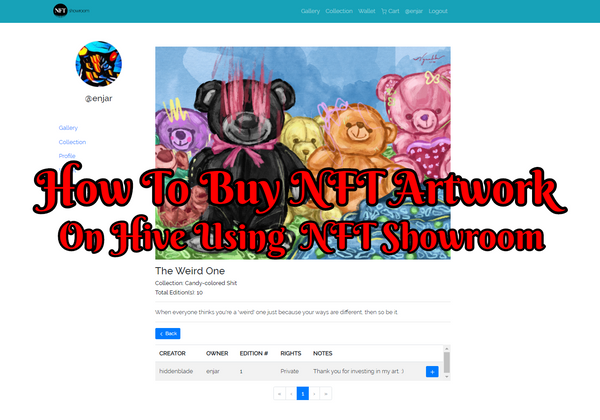 How To Buy NFT Artwork On Hive Using NFT Showroom