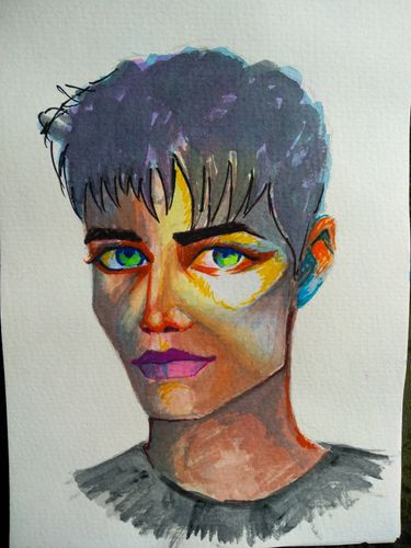 Male portrait painting with watercolor, my second watercolor portrait