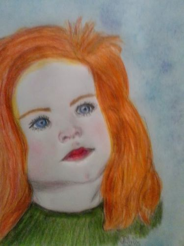 Drawing red-haired girl
