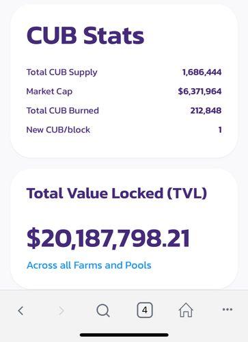 ATH TVL for Cub $20 million +