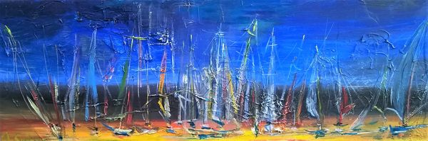 Sailboats in the blue - oil on canvas