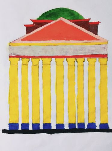 """My drawing pencil sketch. """"PANTHEON """" This is an Italian travel spot."""