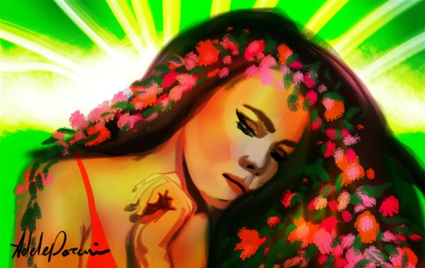 painting girl and flowers on hair digital art in photoshop