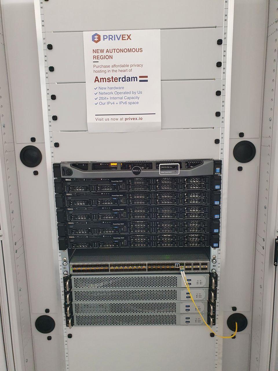 Photo of Privex's server rack in Amsterdam, Netherlands