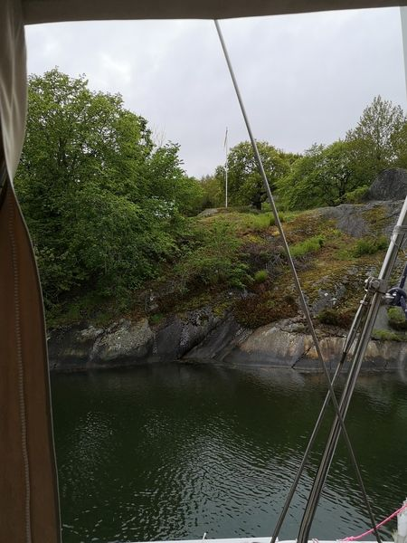 Starboard view, passing the channel