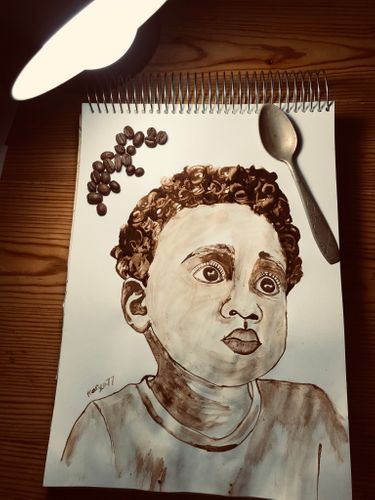 Coffee painting steps, portrait of a boy with ☕️ coffee