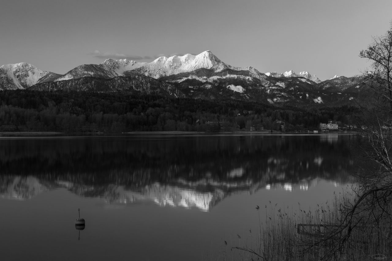 Black & White Sunrise at Lake Woerthersee in March 2020