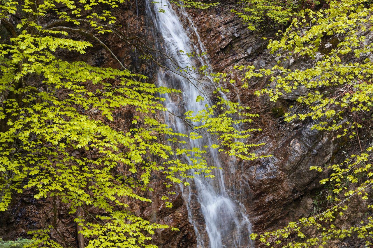 Hiking, Wild Camping & Alpenglow : beautiful hidden waterfall in the woods
