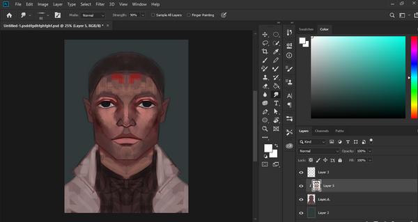 Digital portrait painting, halfway done, seems stuck now