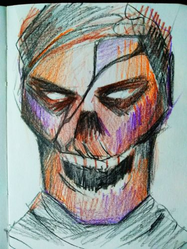 Colorful skull with color pencils