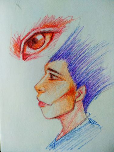 Sketch with colored pencil, a portrait and an eye