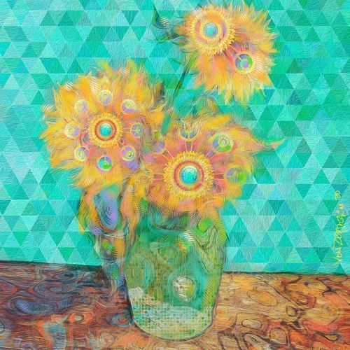 "The sunflowers. Four images of the #VanGoghGo collectibles, ""GO"", as a tribute to Vincent Van Gogh. Cryptographic Art Digital Paintings (NFTs)"