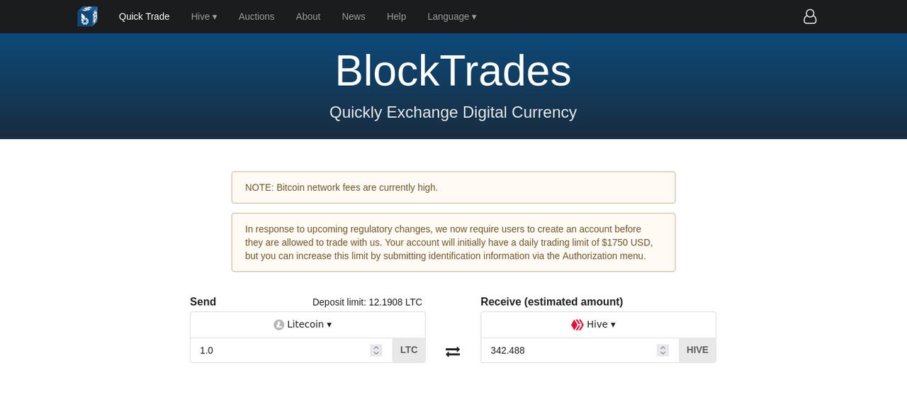 Pagina principal de Blocktrades