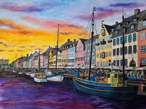 """Nyhavn"" (Watercolor and Pastel)"