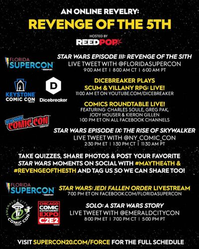 Star Wars Revenge of the 5TH, A few live streaming events still happening tonight!! ಠ_ಠ