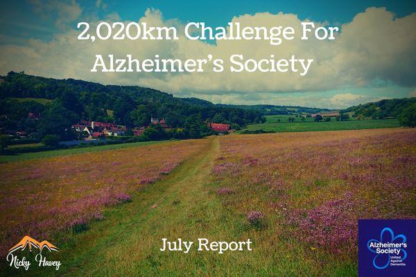 2,020km Challenge for Alzheimer's Society – July Report