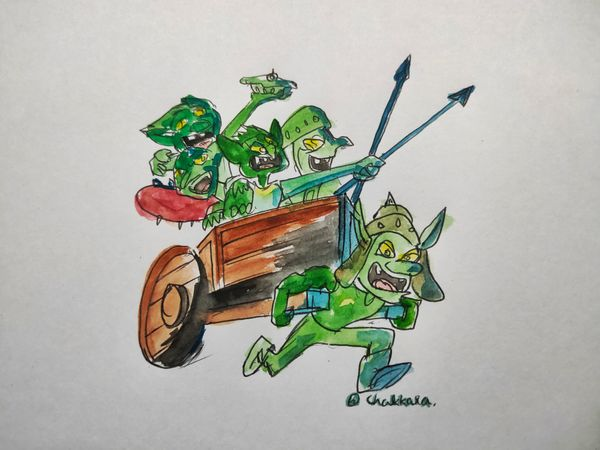 Splinterlands Art contest - Character drawing - GOBLIN CHARIOT