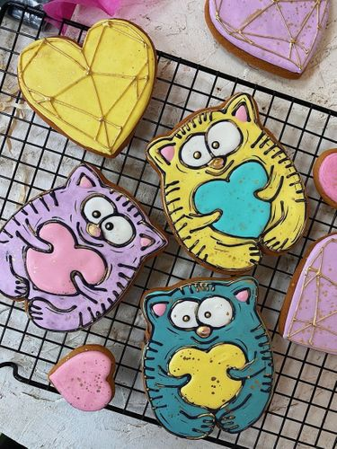 I paint gingerbread cookies with special paint and a brush.