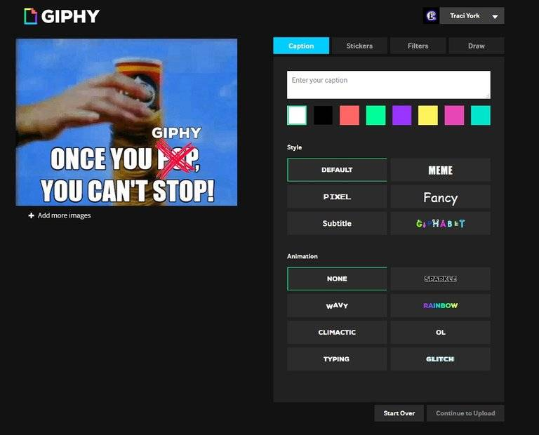 giphy create gif screenshot