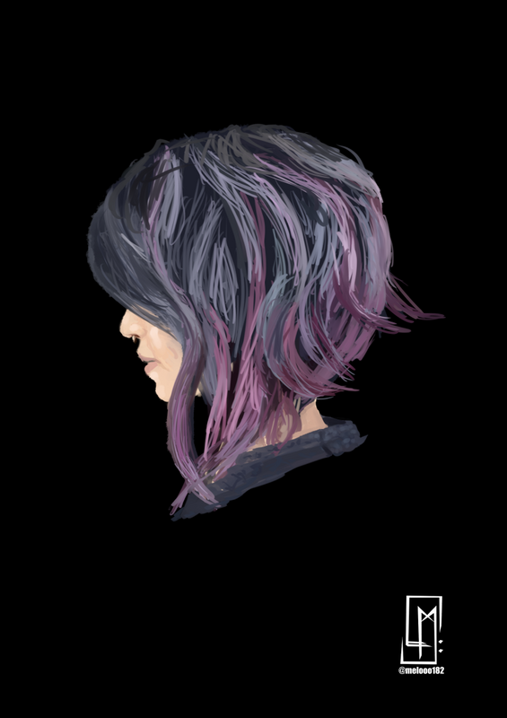 Today's Morning Sketch - Multi colour dyed hair 🌸🍇🌫