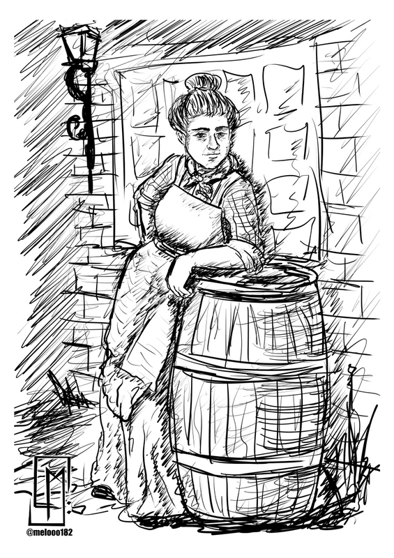 Sketch of victorian era poor woman 🕰🚂👩