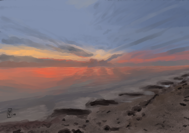 Today's Morning Sketch - Beach Sunset 🔴🏖