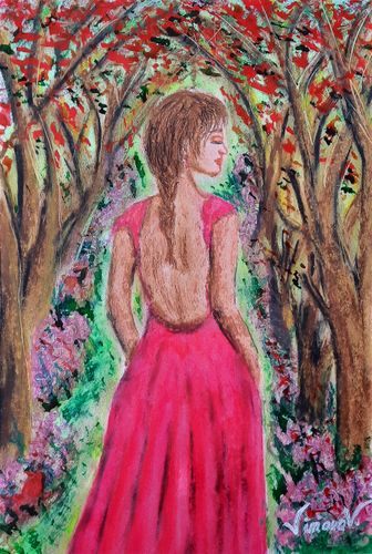 Oil pastel painting: At the passing of the breeze