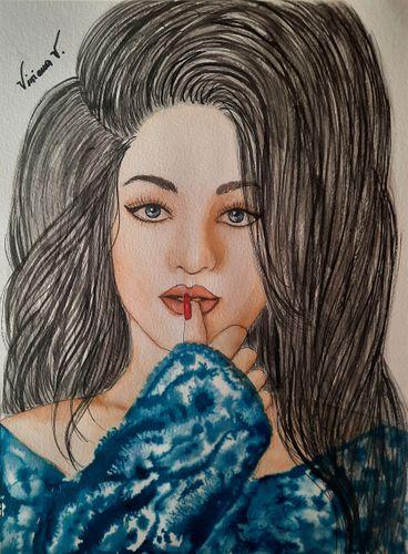 Watercolor and ink painting: Malika