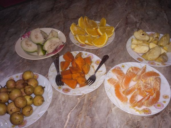 Afternoon snack with various fruits.