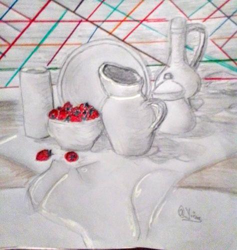 Drawing porcelain tableware.